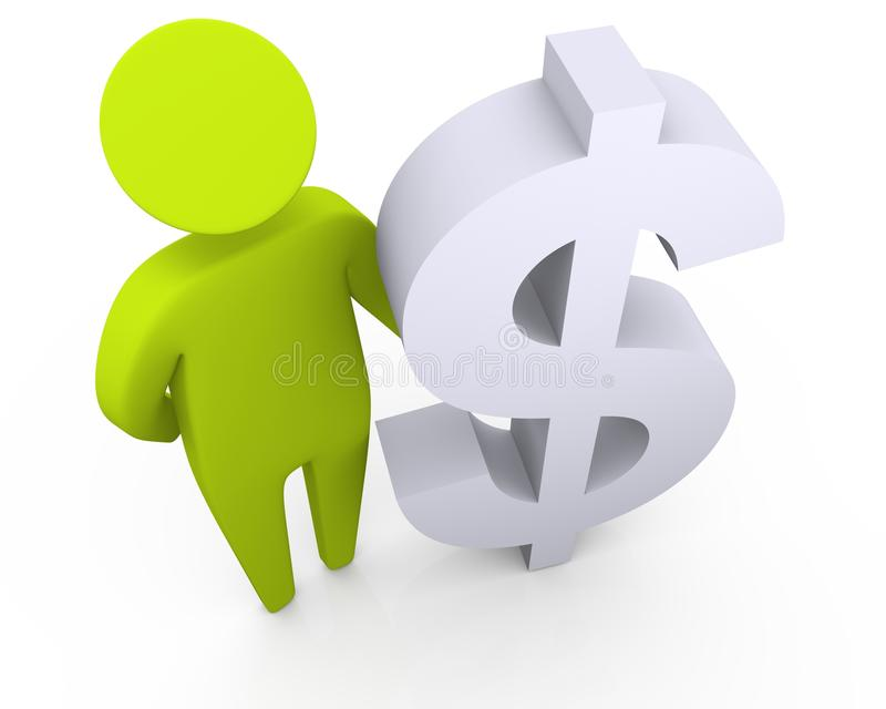 Rich man standing and holding a dollar symbol royalty free stock image