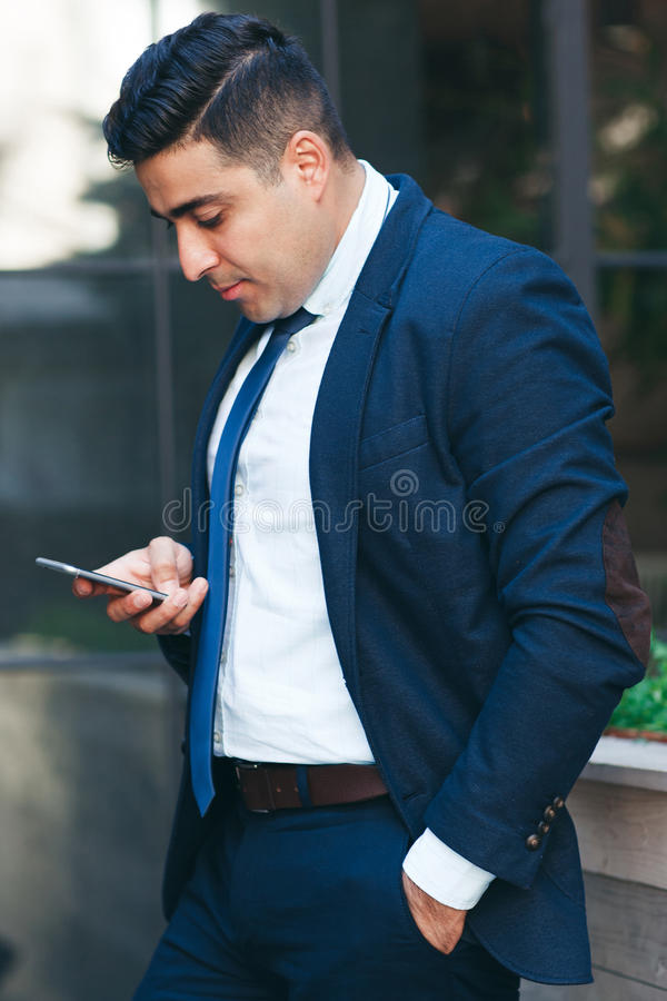 Rich man in touch with business partners royalty free stock photography