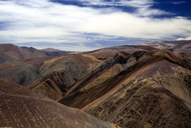 Rich mineral deposits are responsible for beautiful colors. Of painted mountains, Cordillera de Copiapo, Atacama desert, Chile stock photo