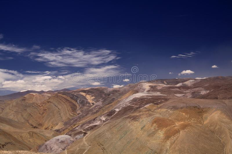 Rich mineral deposits are responsible for beautiful colors of. Painted, Cordillera de Copiapo, Atacama desert, Chile royalty free stock photo