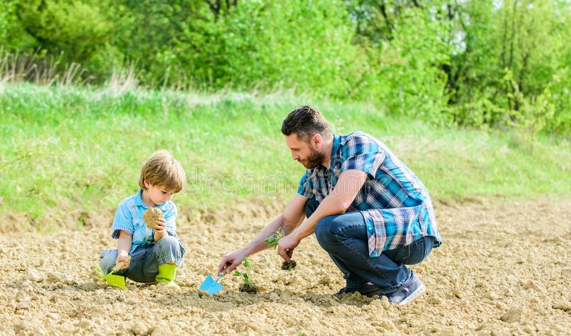 Rich natural soil. Eco farm. happy earth day. Family tree. new life. soils and fertilizers. small boy child help father. In farming. father and son planting royalty free stock photo