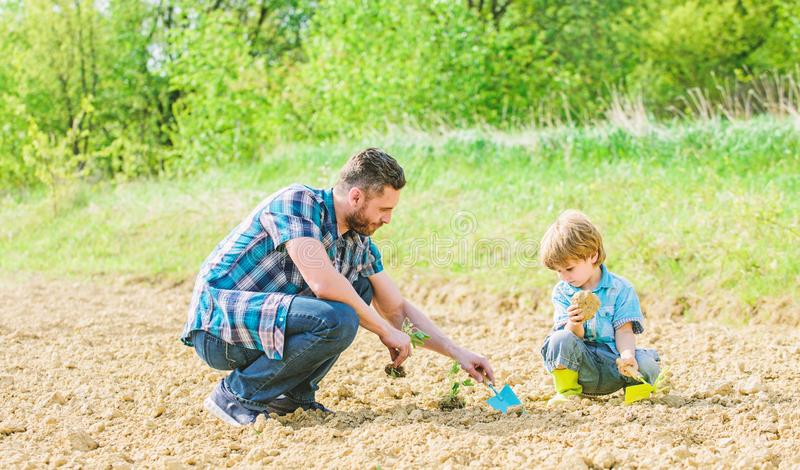 Rich natural soil. Eco farm. happy earth day. Family tree. new life. soils and fertilizers. small boy child help father. In farming. father and son planting royalty free stock photography