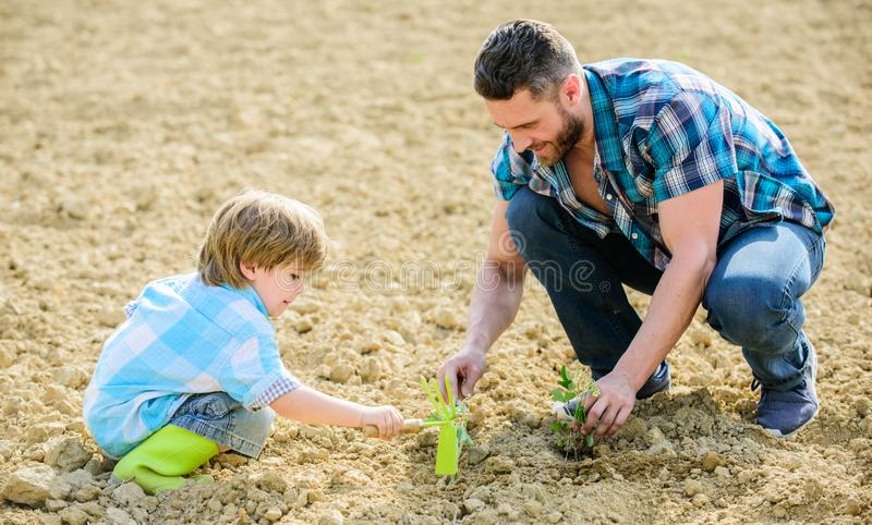 Rich natural soil. Eco farm. new life. soils and fertilizers. small boy child help father in farming. father and son. Planting flowers in ground. happy earth royalty free stock photo
