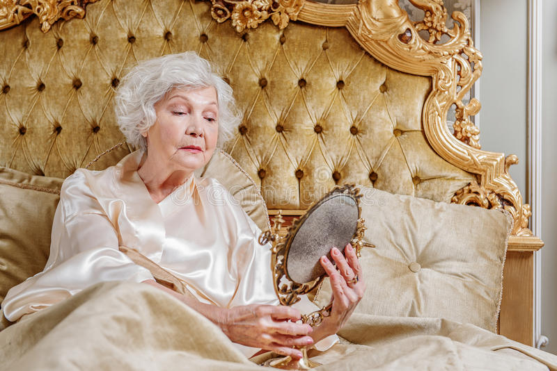 Rich Old Woman Suffering From Aging Stock Image - Image of