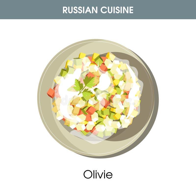 Rich Olivie sallad klädde med majonnäs från rysk kokkonst stock illustrationer