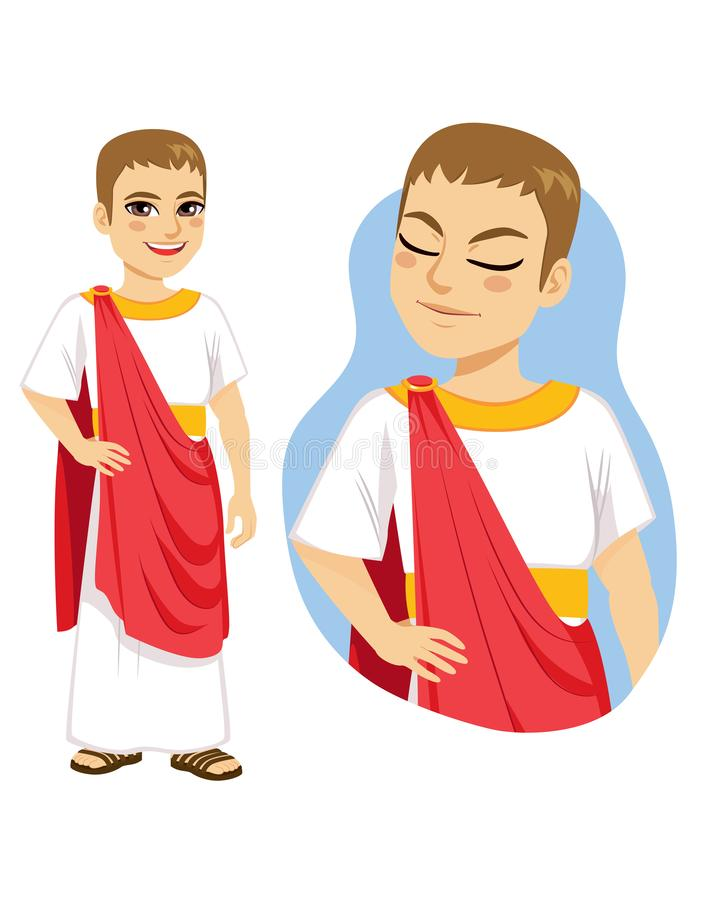 Rich Patrician Roman Citizen. Illustration of rich patrician roman citizen standing with red toga and gold accessories royalty free illustration