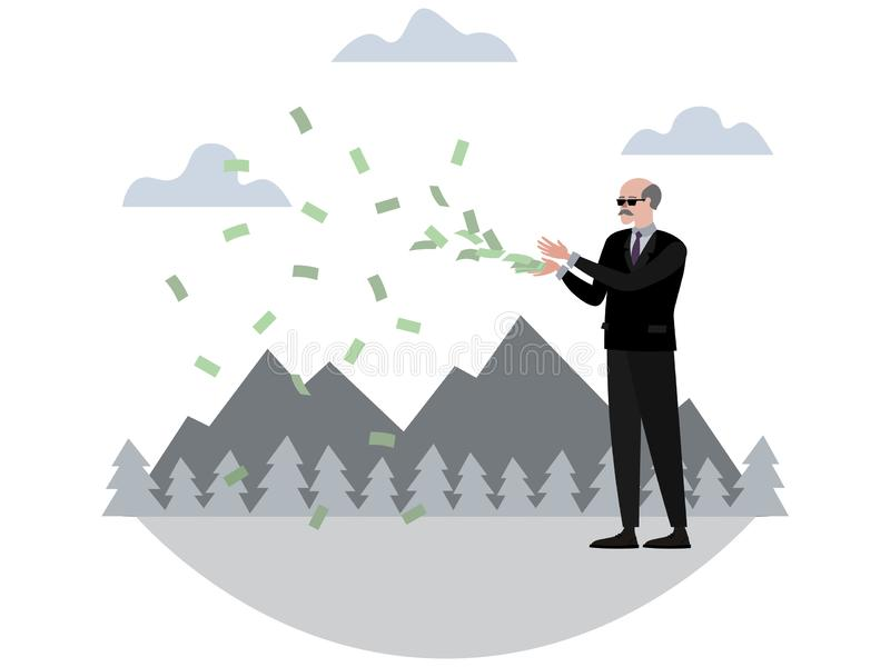 Rich pensioner throws money. In minimalist style Cartoon flat Vector, isolated on white background royalty free illustration