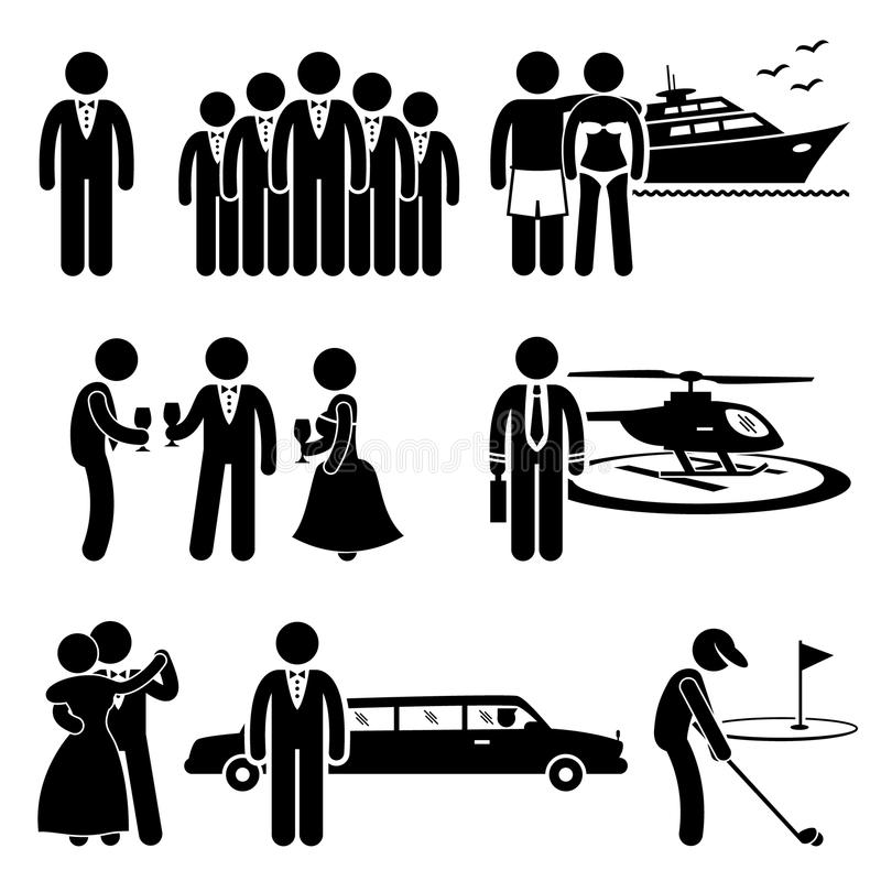 Rich People High Society Expensive Lifestyle Activity Cliparts vector illustration