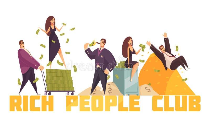 Rich People Horizontal Composition illustrazione vettoriale