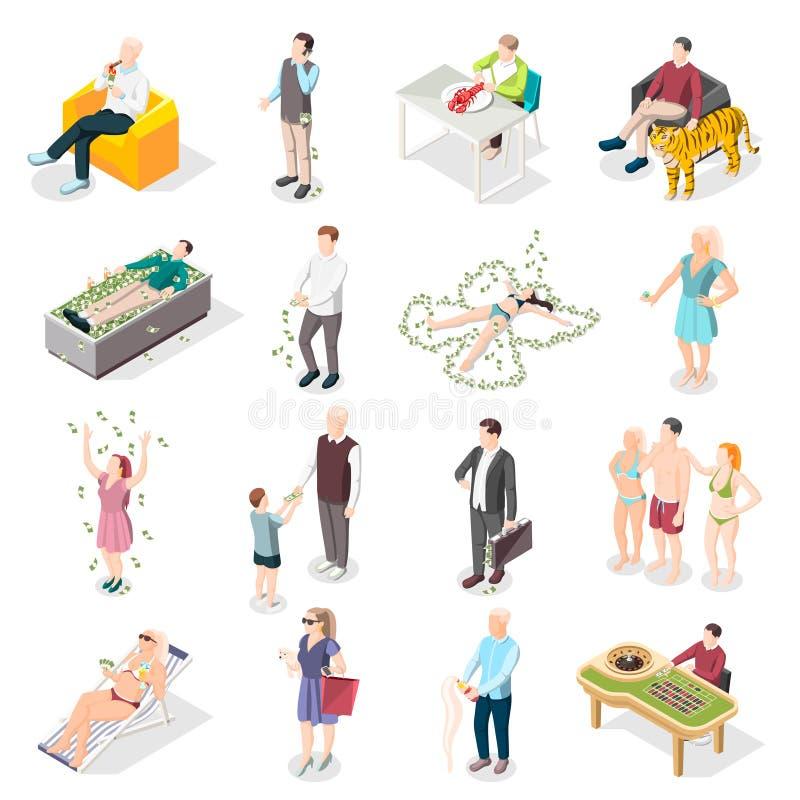 Rich People And Rich Life isometriska symboler royaltyfri illustrationer
