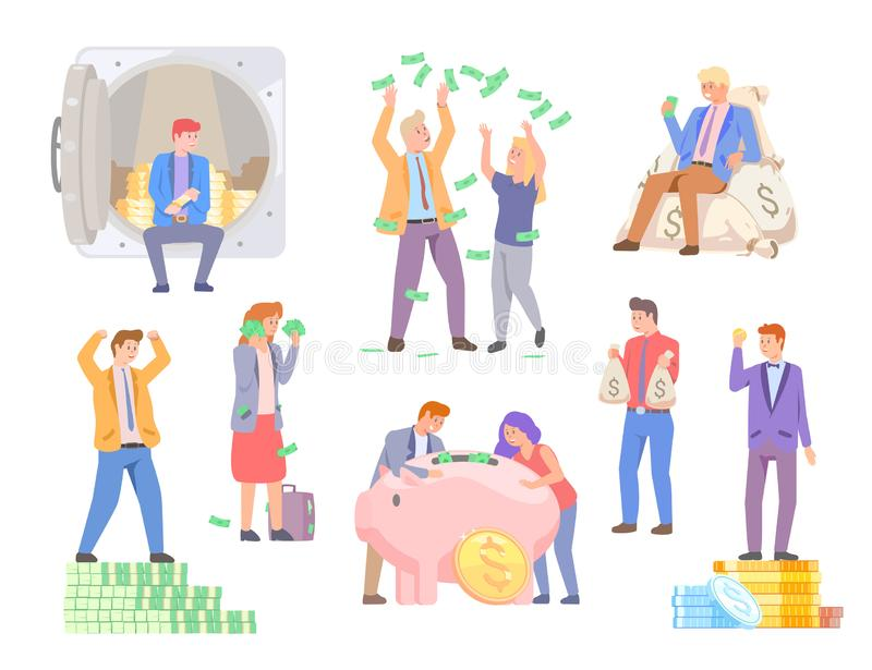 Rich People Happy to Have Pile of Money in Bank royalty free illustration