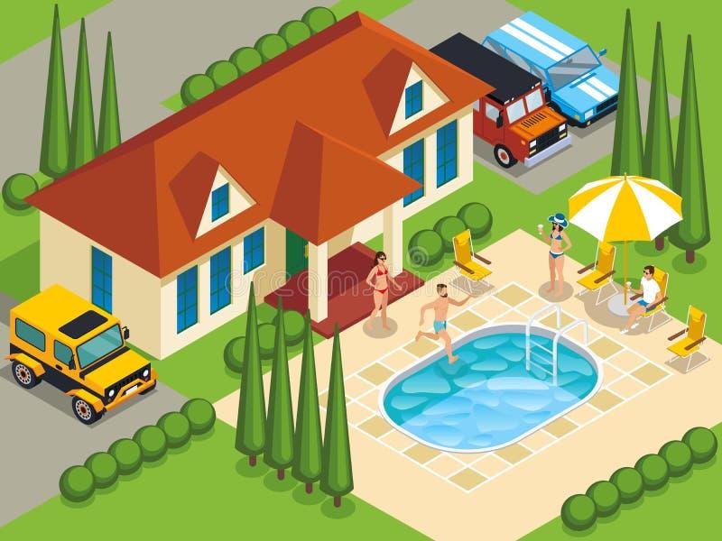 Rich People Villa Isometric Illustration illustration libre de droits