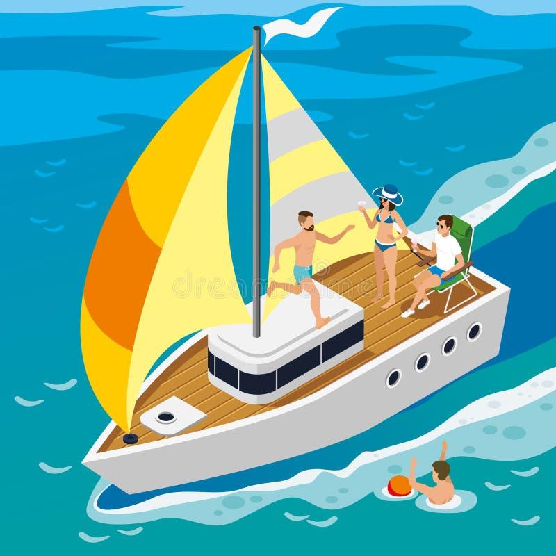 Rich People Yacht Isometric Illustration vektor illustrationer