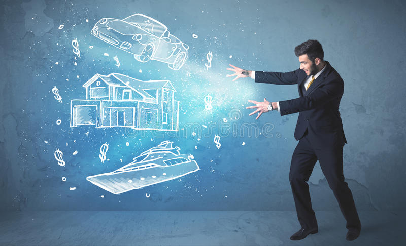 Rich person throwing hand drawn car yacht and house. Concept royalty free stock photos