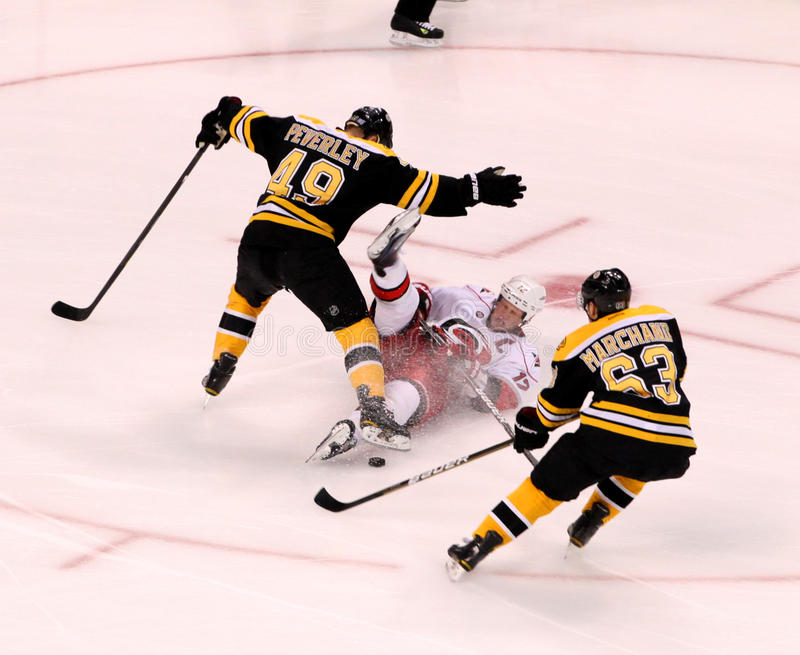 Rich Peverley and Eric Staal collission.