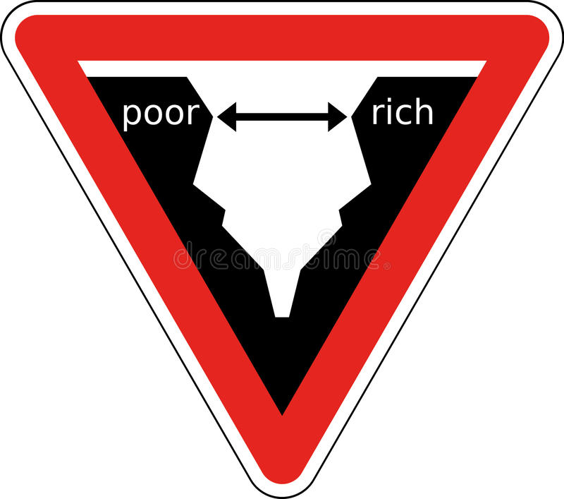 Rich and Poor. Symbolic traffic sign describing the growing gap between rich and poor people vector illustration