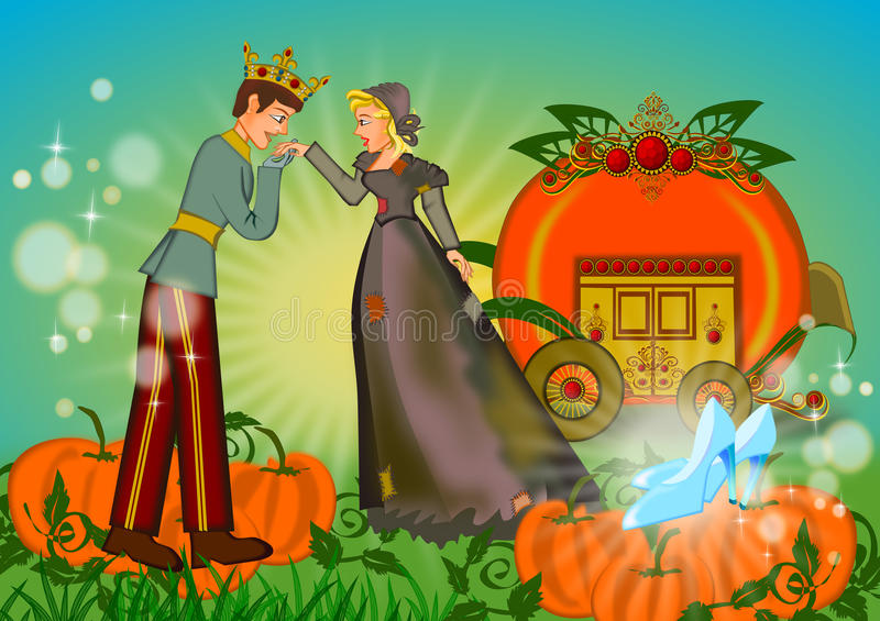 Rich and poor in love on cinderella story. Opposites attract between rich handsome prince and poor cinderella concept illustration