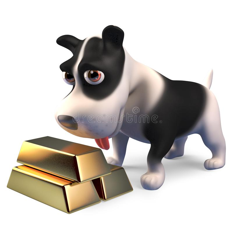 Rich puppy dog with a stack of gold bullion ingot bars, 3d illustration. Render vector illustration