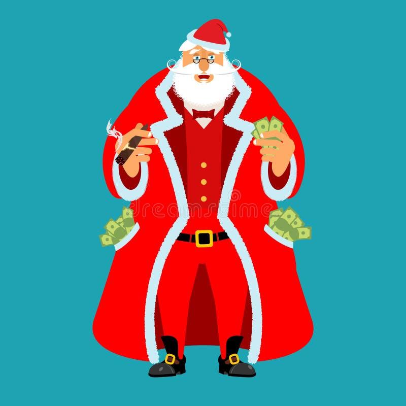 Rich Santa Claus och lott av pengar Fickan full av kassa Förtjänster f royaltyfri illustrationer