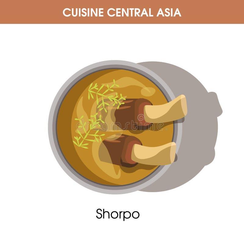 Rich Shorpo com carne no osso da culinária asiática central ilustração royalty free