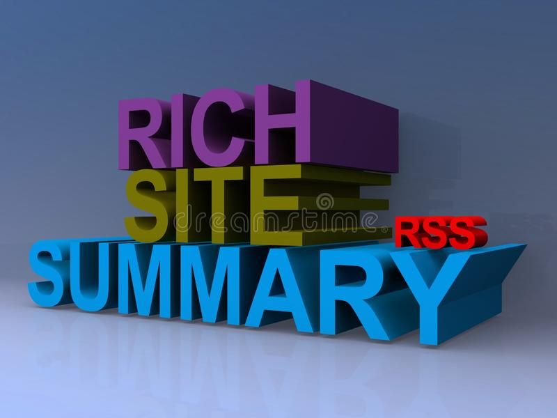 Rich site summary. On blue background royalty free illustration
