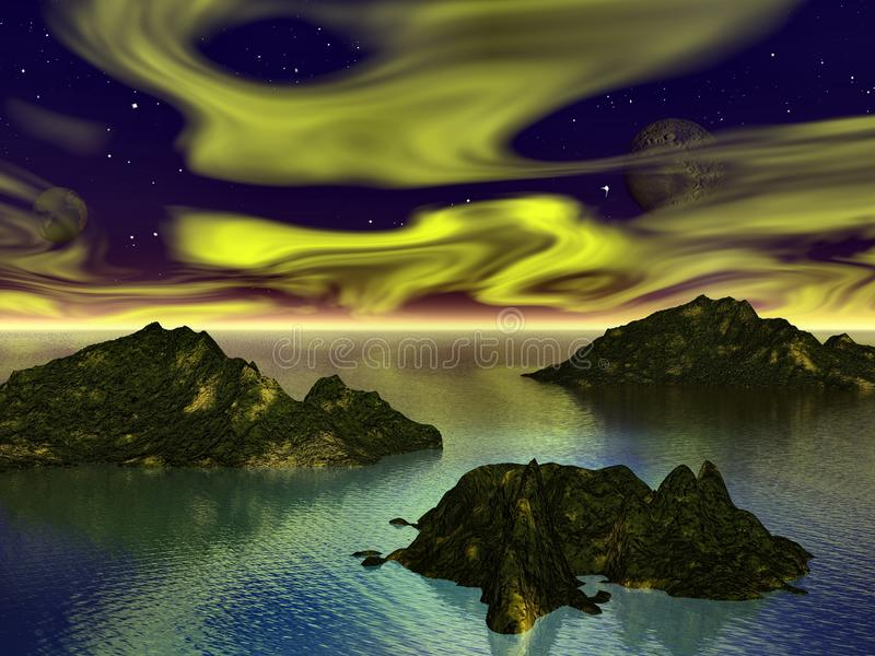 Planetfall again. Rich sky against gloomy islands sat on reflective sea trying to raise the spirits stock illustration