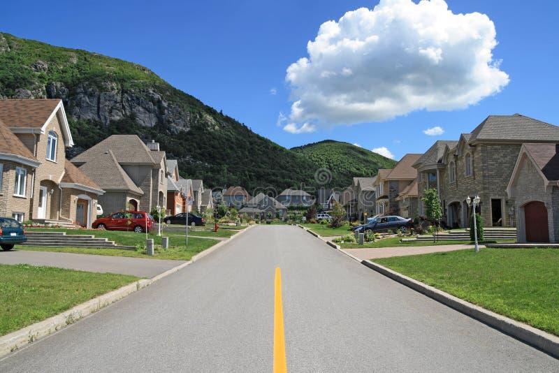 Rich suburban neighborhood stock photo