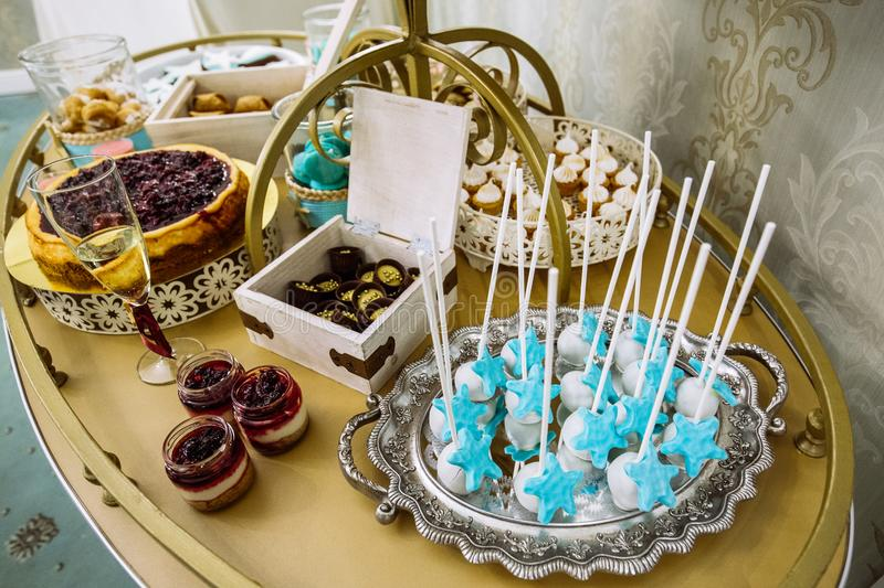 Rich thematic wedding candy bar, high variety of sweets royalty free stock photo