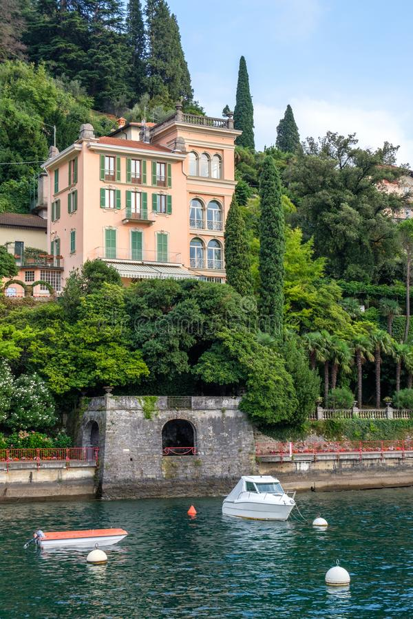 Rich villa on shore of Lake Como stock images