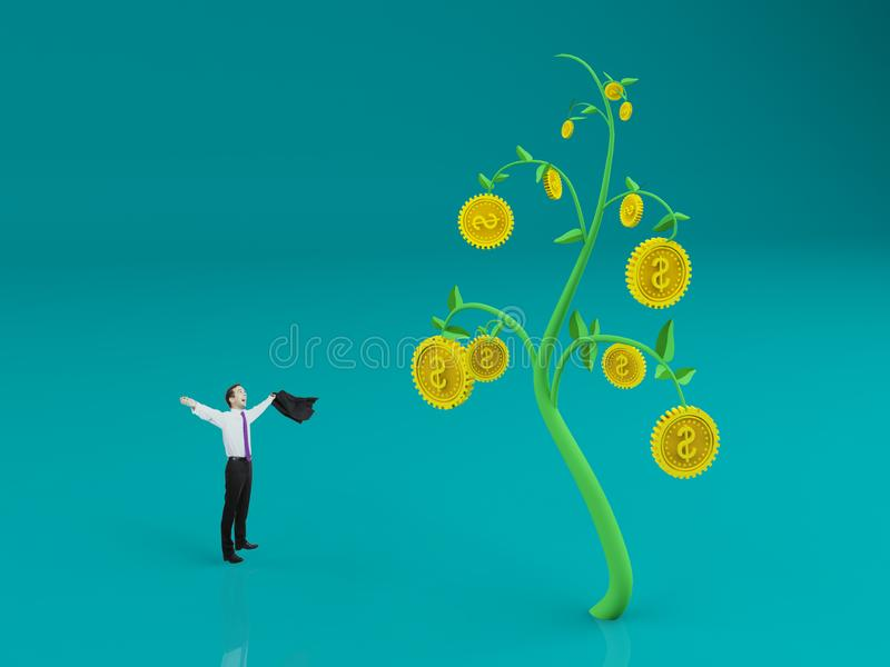 Rich and wealth concept. Businessman celebrating success on abstract blue background with creative dollar coin tree. Rich and wealth concept. 3D Rendering stock images