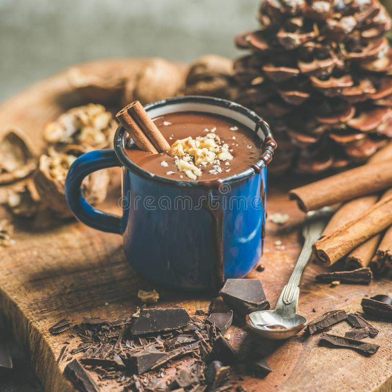 Rich winter hot chocolate with cinnamon and walnuts, square crop royalty free stock photography