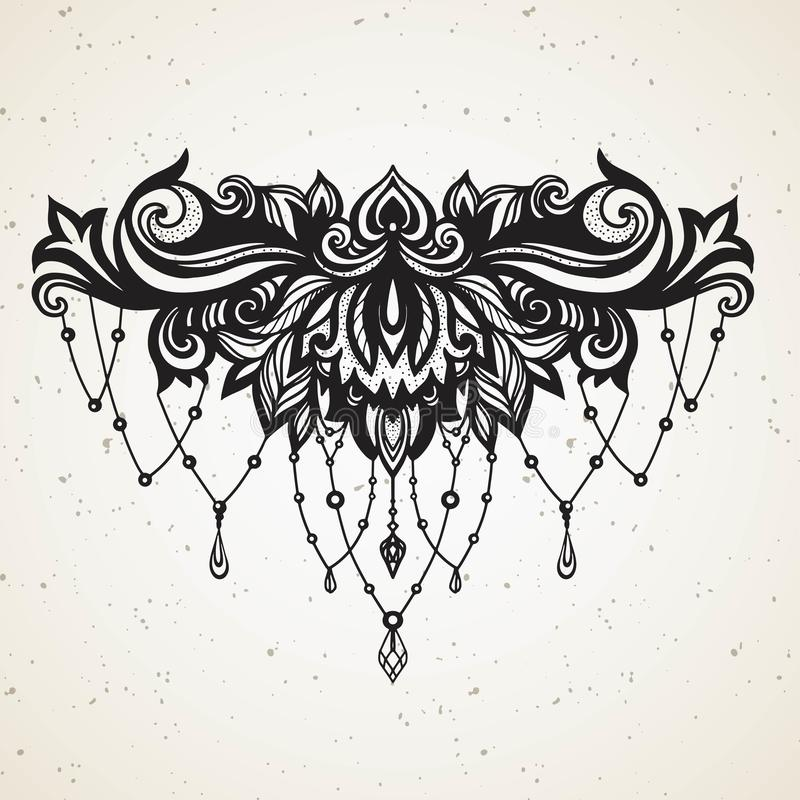 Rich women`s tattoo with jewelry and barocco decorativ floral element. Abstract in Boho Ethnic style with Gems for tattoo on vector illustration