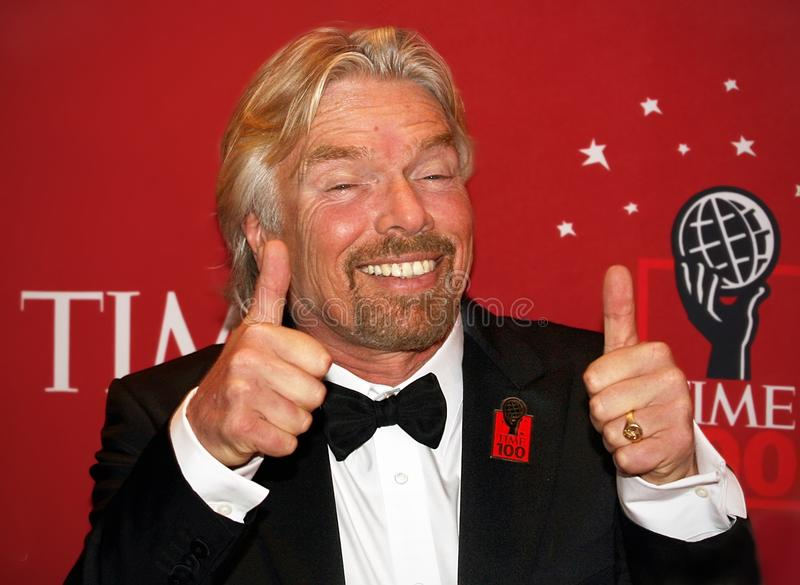 Richard Branson. British investor, businessman, and philanthropist Sir Richard Branson arrives on the red carpet inside the Time Warner Center in Manhattan for royalty free stock photo