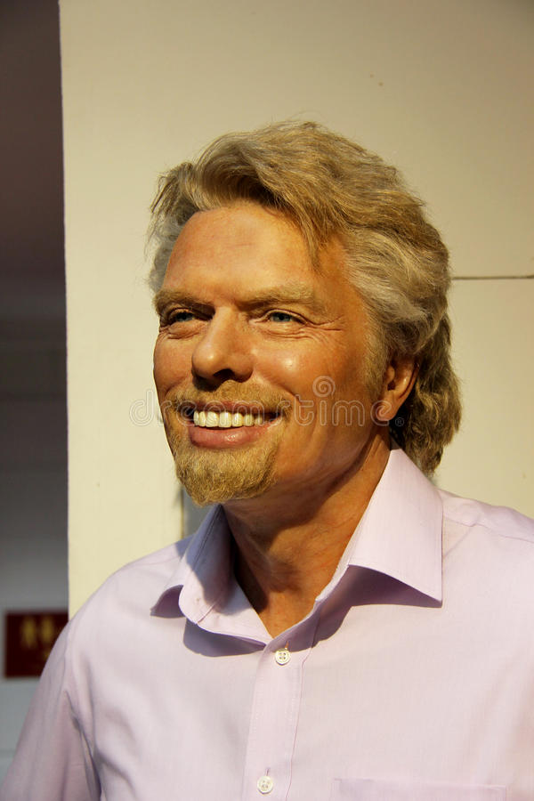 Richard Branson. London, - United Kingdom, 08, July 2014. Madame Tussauds in London. Waxwork statue of Richard Branson. Created by Madam Tussauds in 1884, Madam royalty free stock image