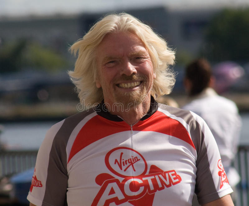 Richard Branson promuje Dziewiczego aktywnego zdjęcie royalty free