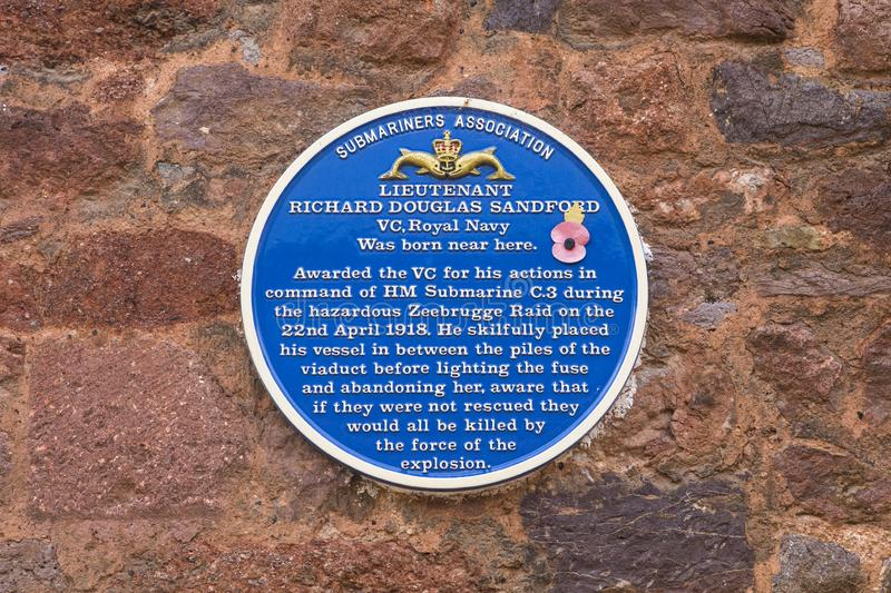 Richard Douglas Sandford VC Plaque in Exeter. Exeter, UK - July 31st 2019: A blue plaque in Cathedral Close in Exeter, marking the location where Richard Douglas stock image