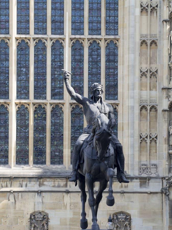 Richard het Lionheart-standbeeld, Londen royalty-vrije stock fotografie