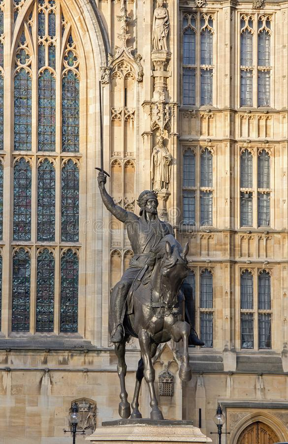 Richard I Statue. Outside the houses of Parliament in London stock photo