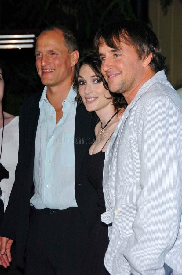 Richard Linklater, Winona Ryder, Woody Harrelson stock afbeelding