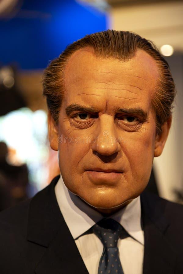 Richard Nixon en señora Tussauds de Nueva York fotografía de archivo