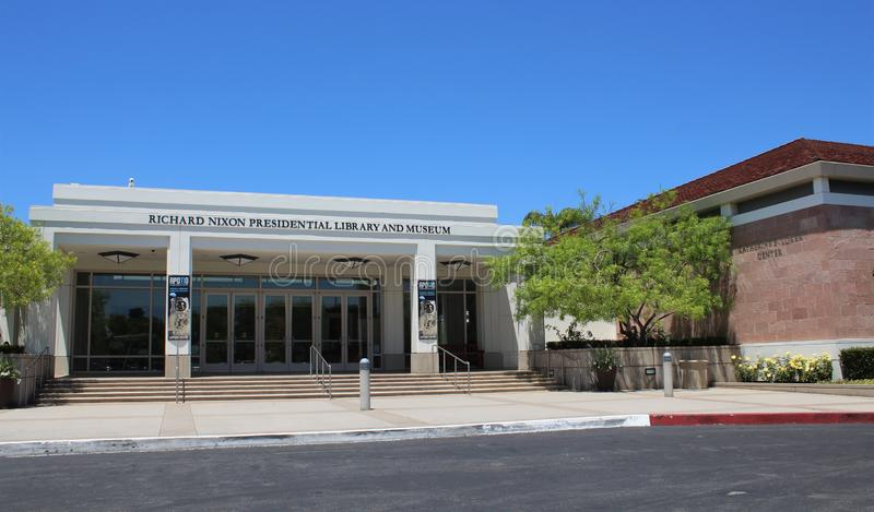 Richard Nixon Presidential Library and Museum in Yorba Linda, California. The library and museum house the Nixon presidential materials and is located next to stock photo