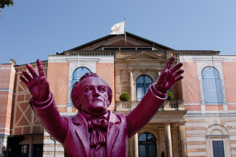Richard Wagner conducts Bayreuth. The concept artist Ottmar Hörl is presenting his Bayreuth installation Wagner conducts Bayreuth on the grounds of the stock photos
