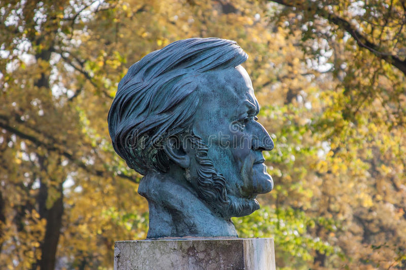 Richard Wagner. The german composer Richard Wagner (1813 - 1883). Richard Wagner's Bust in Festspielpark Bayreuth stock photo
