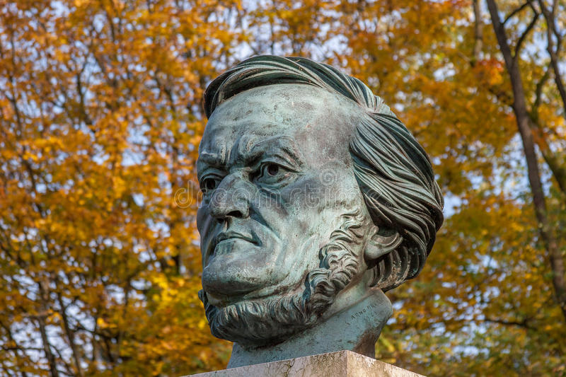 Richard Wagner. The german composer Richard Wagner (1813 - 1883). Richard Wagner's Bust in Festspielpark Bayreuth royalty free stock image