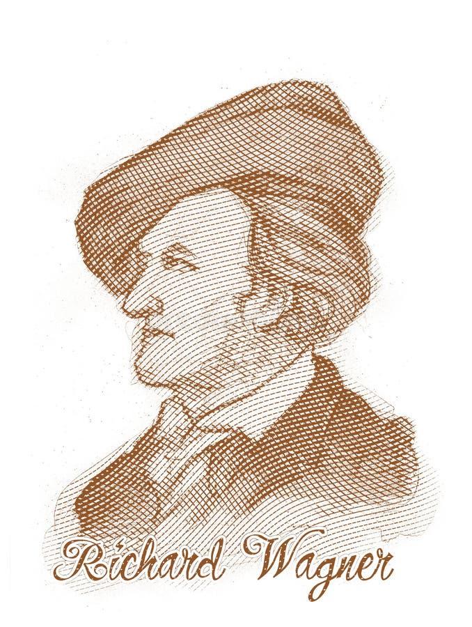 Richard Wagner que grava o retrato do esboço do estilo fotos de stock royalty free