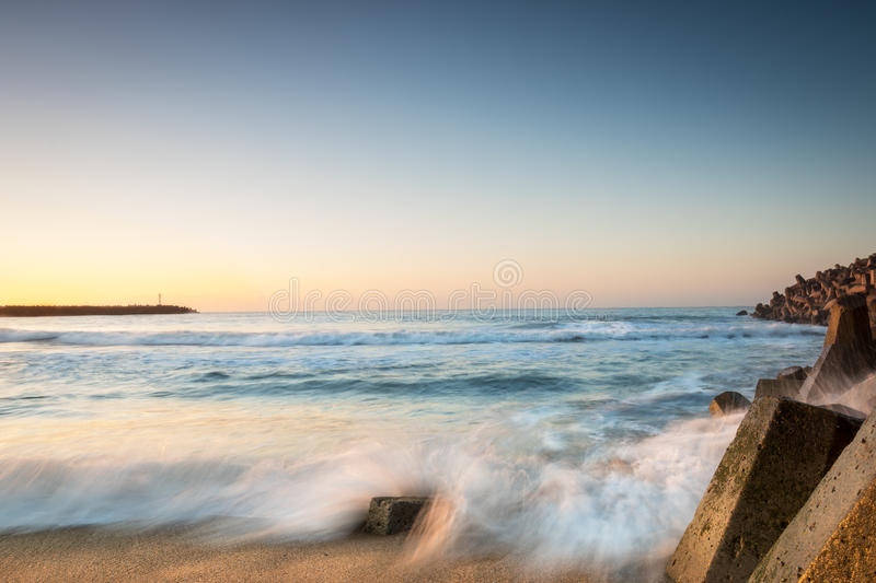 Richards Bay Seascape. Newark Beach Long Exposure, Photo taken in Richards Bay during sunrise. About a 3 second exposure stock photo