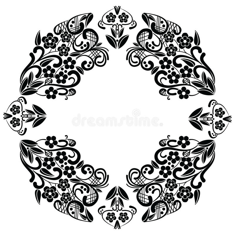 Richelieu embroidery stitches inspired lace pattern with floral elements: leaves, swirl, leaves in black and white in lace in oval royalty free illustration