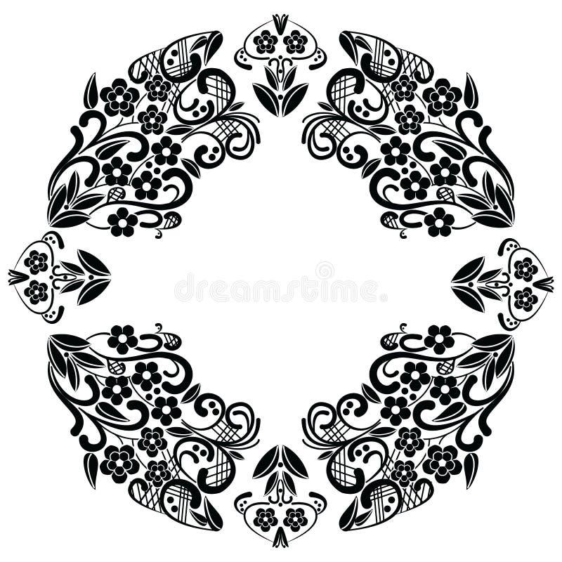 Richelieu koronki hafciarscy ściegi inspirujący wzór z kwiecistymi elementami: liście, zawijas, opuszczają w czarny i biały w kor royalty ilustracja