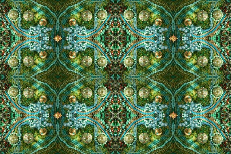 Richement la gemme a décoré le modèle sans couture Vert, bleu, or image libre de droits