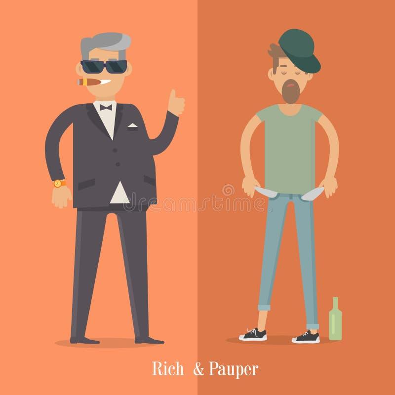 Riches et hommes d'indigent Niveau social Affiche humaine illustration de vecteur